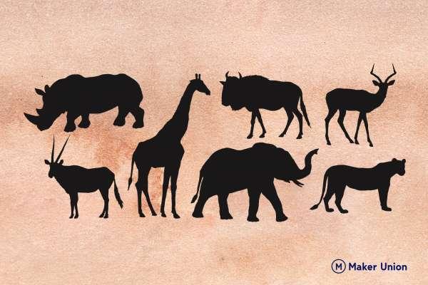 African animal safari dxf files preview