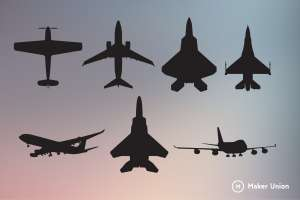 Airplanes dxf files preview