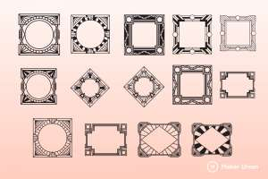 Art deco frames dxf files preview