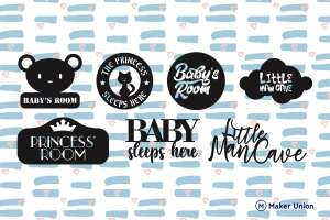Baby room signs dxf files preview