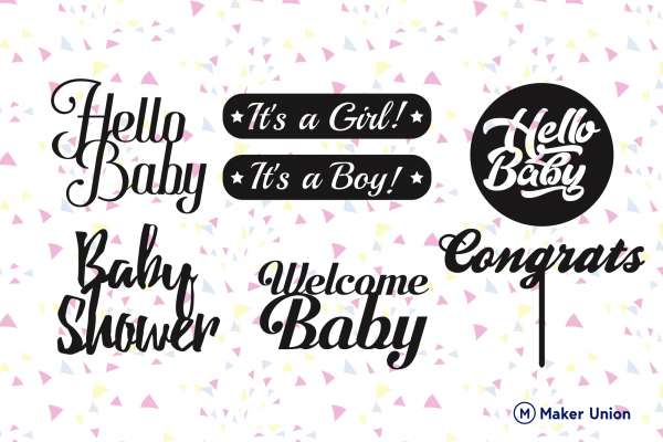Baby shower dxf files preview