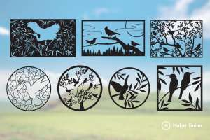Birds and trees dxf files preview