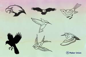 Birds dxf files preview