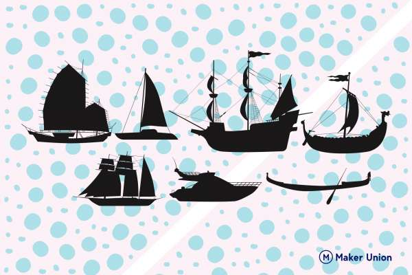 Boats dxf files preview