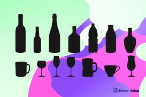 Bottle and glass shapes dxf files preview