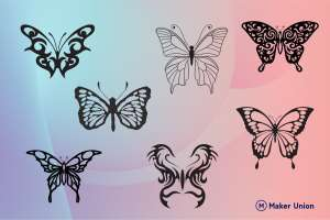 Butterflies dxf files preview