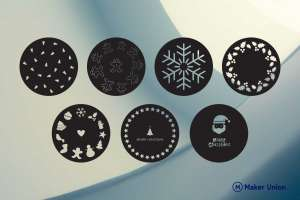 Christmas coasters dxf files preview