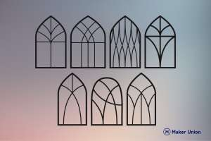 Church window frames dxf files preview