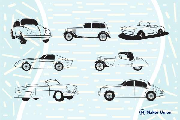 Classic cars dxf files preview