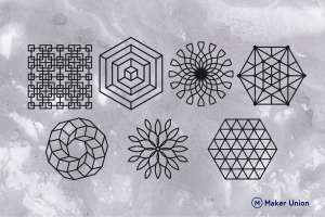 Complex geometric shapes dxf files preview