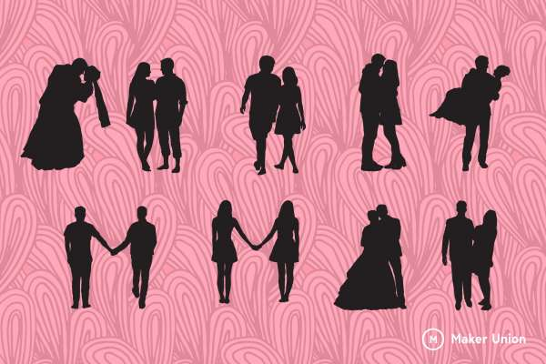 Couple silhouettes dxf files preview