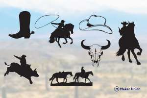 Cowboy scenes dxf files preview
