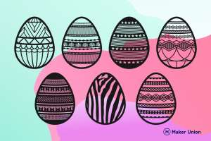 Decorative easter eggs dxf files preview