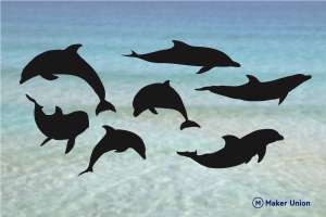 Dolphins dxf files preview