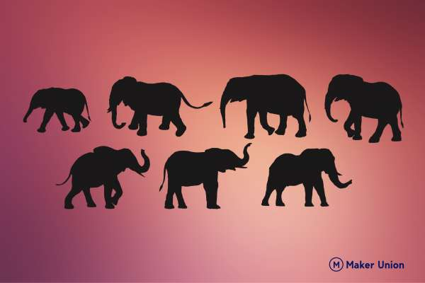 Elephants dxf files preview