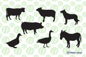 Farm animals dxf files preview
