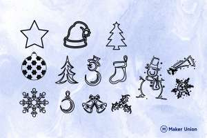 Festive Christmas Shapes dxf files preview