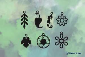 Floral earrings dxf files preview