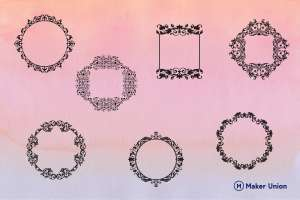 Floral frames dxf files preview