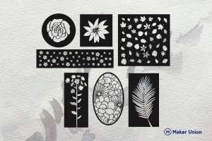 Floral wall decors dxf files preview