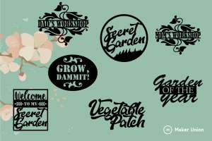 Garden signs dxf files preview
