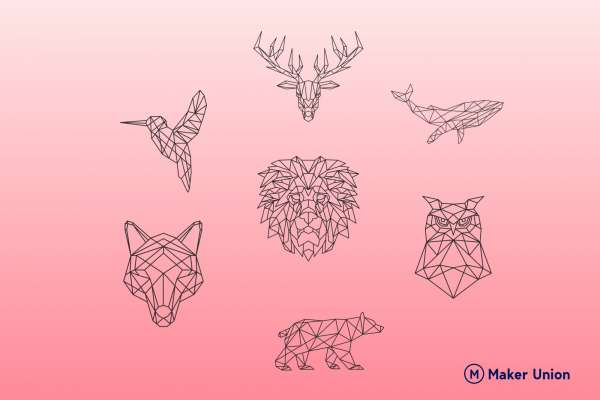 Geometric animals dxf files preview