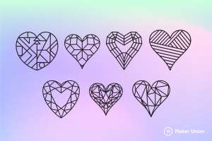 Geometric hearts dxf files preview