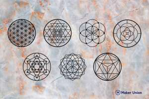 Geometric wall decor dxf files preview