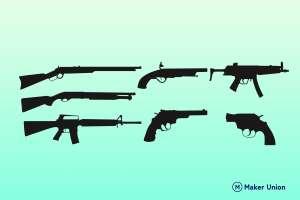Guns dxf files preview