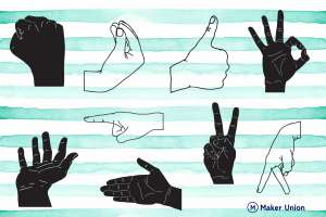 Hand gestures dxf files preview