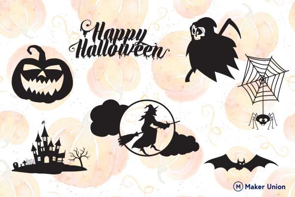 Happy halloween dxf files preview