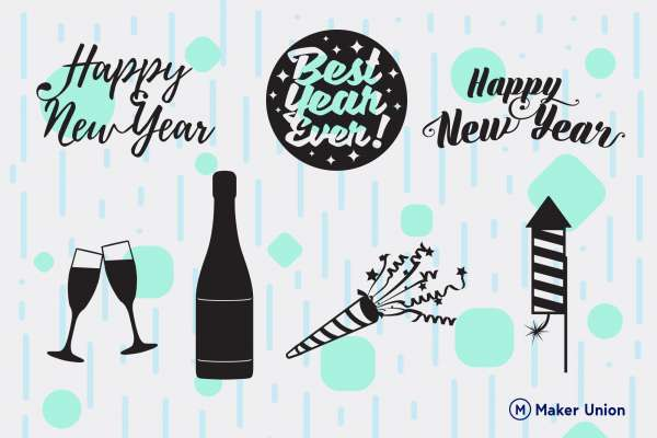 Happy new year dxf files preview