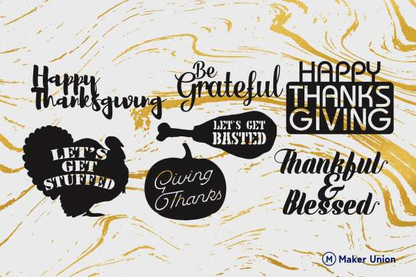 Happy thanksgiving dxf files preview