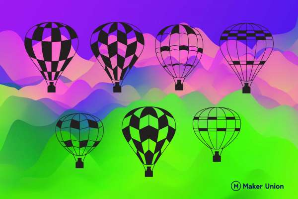 Hot air balloon dxf files preview