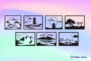Japanese landscape scenes dxf files preview