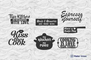 Kitchen signs dxf files preview