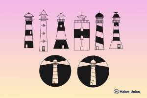 Lighthouses dxf files preview