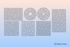 Mazes dxf files preview