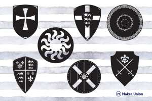 Medieval shields dxf files preview