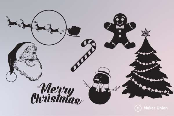 Merry christmas dxf files preview