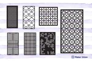 Modern cut panels dxf files preview