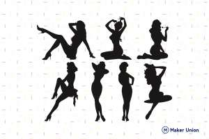 Pinup girls dxf files preview