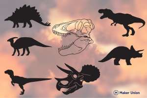 Prehistoric dinosaurs dxf files preview