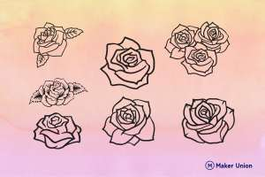 Roses dxf files preview