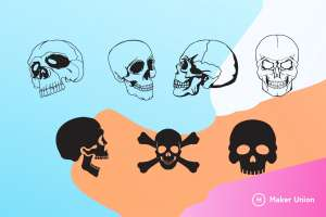 Skulls dxf files preview