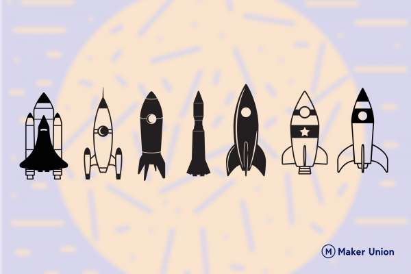 Space rockets dxf files preview