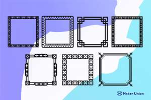 Square frames dxf files preview