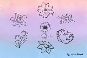 Summer flowers dxf files preview