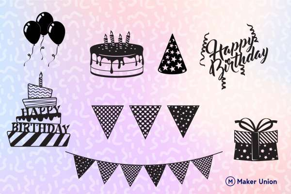 The birthday pack dxf files preview