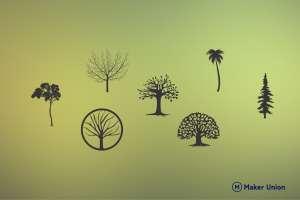 Tree illustrations dxf files preview